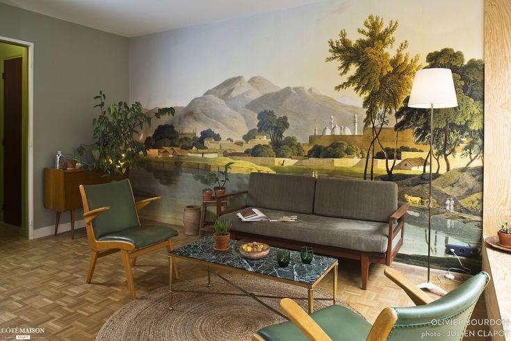 La fresque murale du salon est la pièce maîtresse de la déco