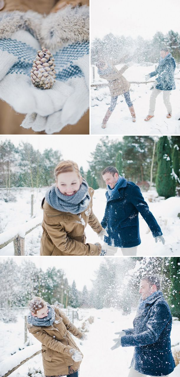 Male, Woman, Couple, Engagement Shooting, Accessoires, playing, snow ...