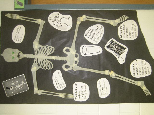skeleton bulletin board ideas | Why did the skeleton pupil stay late at school? He was boning up on ...