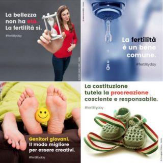 Image copyright                  Ministerio de Salud Italia Image caption                                      Los lemas del ministerio de Sanidad italiano han provocado una fuerte polémica, sobre todo en las redes sociales.                                Una joven se planta sonriente frente a la cámara enarbola un reloj de arena bajo el lema 'La belleza no tiene edad. La fertilidad sí'. Éste y otros eslóganes como 'Prepar