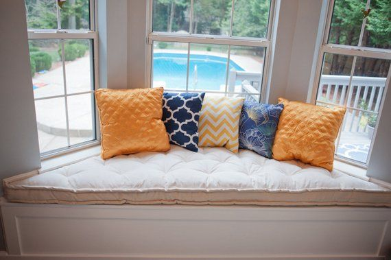 Bay Window Cushion 3 Trapezoid Filled With Wool Handmade