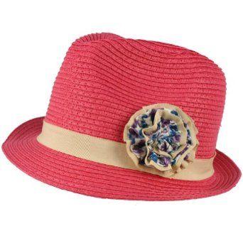 Girls Kids Ages 4-9 Child Summer Sun Floral Band Fedora Trilby Hat Cap Pink SK Hat shop. $9.95