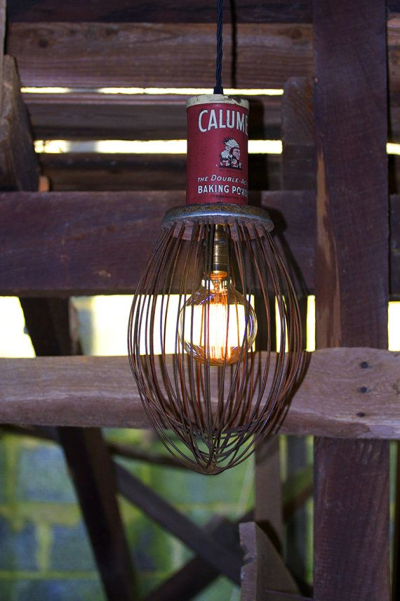 Large Vintage Industrial Whisk Pendant Light—Early 1960's Antique Hobart Whisk—Rejuvinated Scrap Metal Light with Antique Baking Powder Tin
