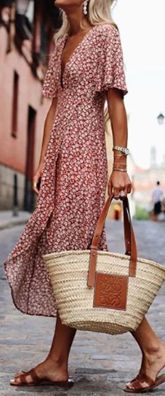 Hot Sale Printed Short Sleeve Swing Dresses Fashion Casual Summer Dresses Maxi Dresses Casual [ 1433 x 600 Pixel ]