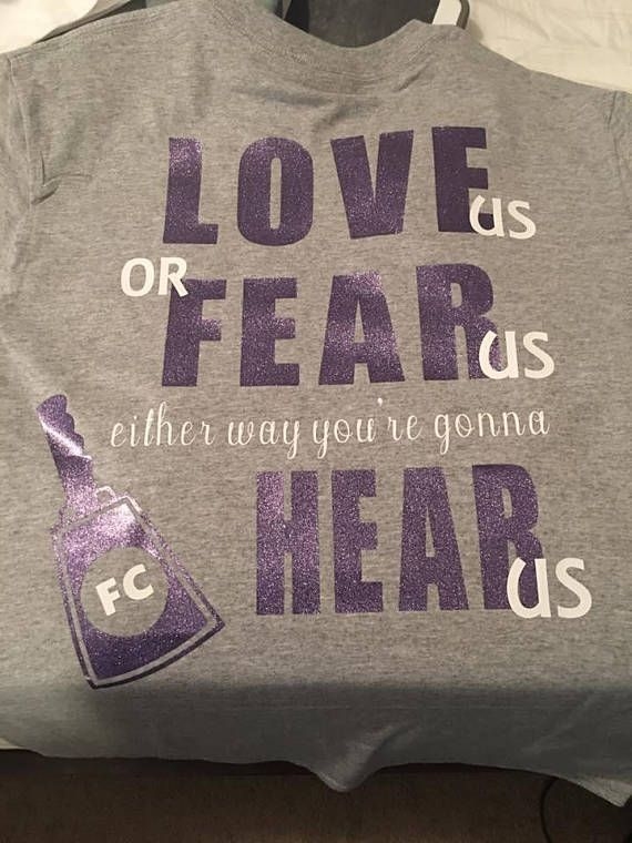 "$15.  ""Love us or Fear us, either way you're gonna HEAR us!!"" Cheerleading T-shirts! Cheer slogan. Cheerleading squad shirts. Glitter custom cheer shirts. Cheer coach! #cheerleading #ad"