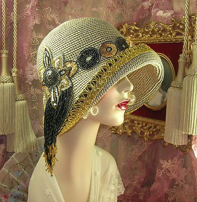 1920's Vintage Style Tan Black Gold Sequin Beaded Cloche Flapper Hat | eBay