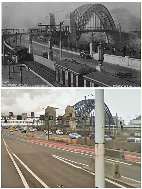 From Milsons Point tram platform to Harbour Bridge lanes 1930's>2015 [City of Sydney Archives>Google streetview/by Kevin Sundgren]