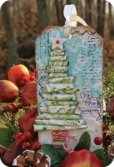 Scrapbooking tag. Cute tree assembled with little paper rolls.
