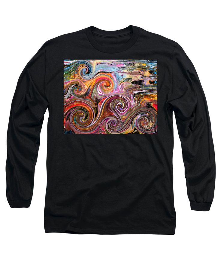 Waves Water Spirals Colorful Vibrant Fun Compelling Dramatic Charming Rolling Ocean Abstract Long Sleeve T-Shirt featuring the digital art Waves by Expressionistart studio Priscilla Batzell