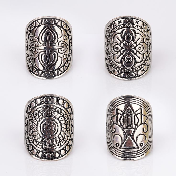 4pcs/lot Vintage Bohemia Nationality Carving Tibetan Silver Color Ring For Women Fine Jewelry Boho Beach Jewelry