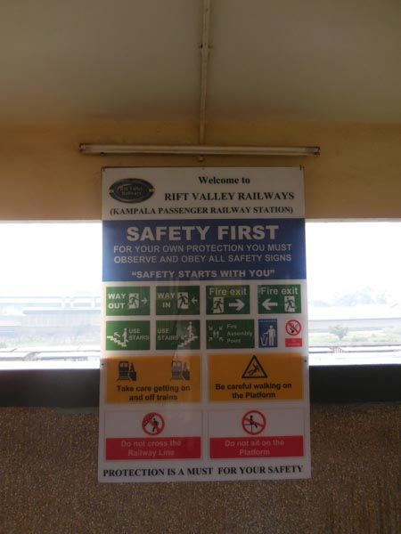 Safety notice for passengers using the train service at Kampala Railway Station