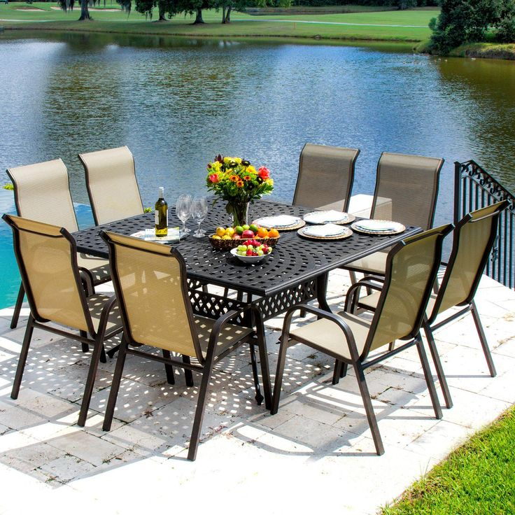 Madison Bay 8 Person Sling Patio Dining Set With Stacking