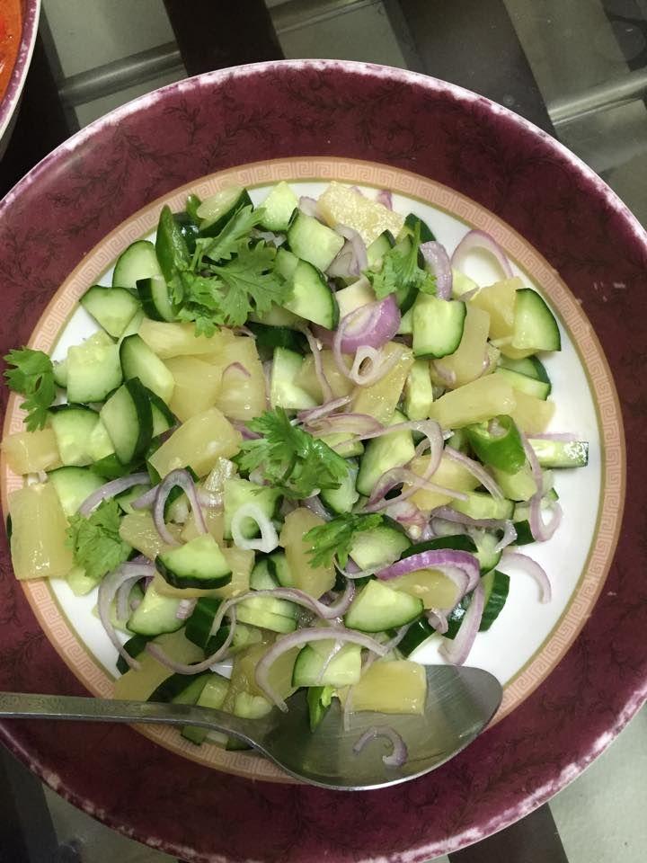 Pineapple, Cucumber, Onion Salad