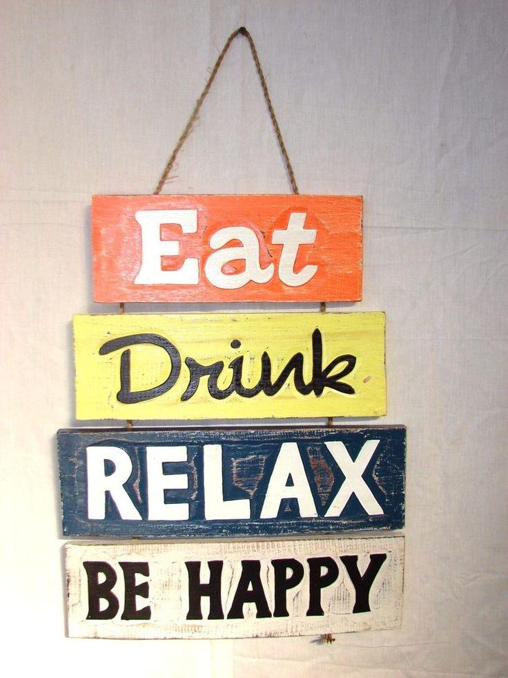 EAT DRINK RELAX BE HAPPY SIGN WALL ART ISLAND HOME DECOR TIKI BAR TROPICAL  #Handmade #ArtDecoStyle