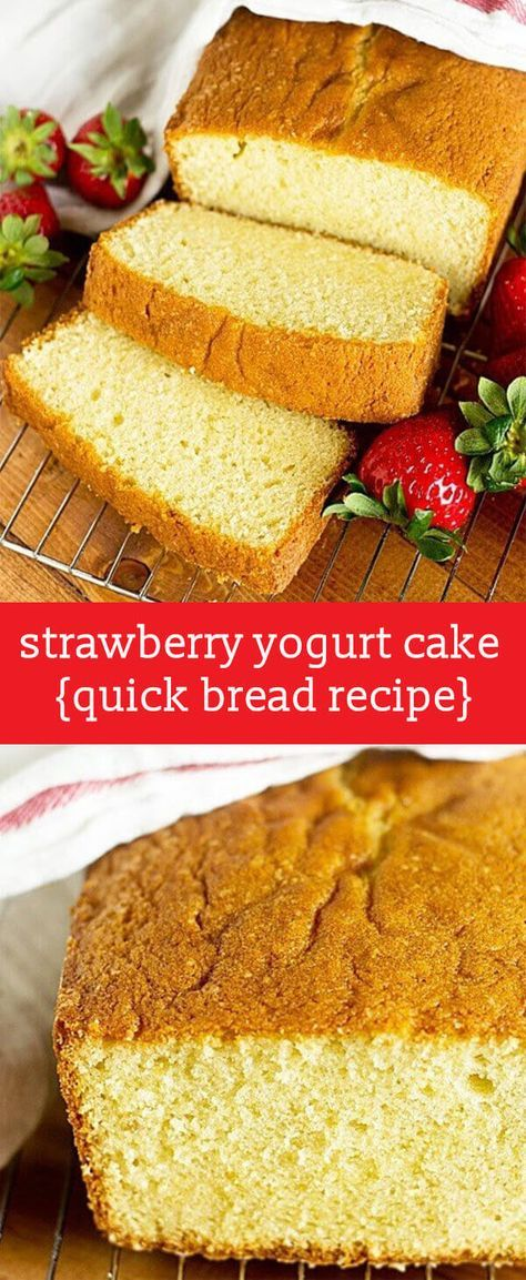 Strawberry yogurt gives this moist Strawberry Yogurt Cake its light strawberry flavor. Serve it plain, with fruit topping, or prepare it as French toast. This simple, versatile recipe will become a favorite! Strawberry Yogurt Cake {Simple From Scratch Quick Bread with Greek Yogurt}