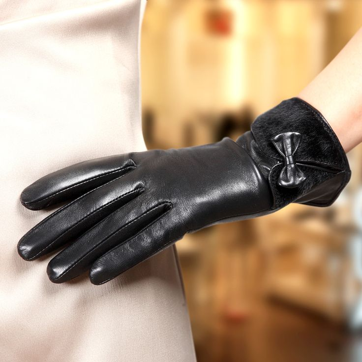 >> Click to Buy << Brand Genuine Leather Gloves Fashion Women  Sheepskin Gloves Winter Plus Velvet Elegant Lady Finger Driving Glove L151NC #Affiliate