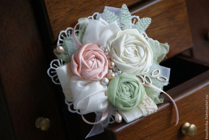 Брошь из ткани, персик и ваниль, фисташка - брошь,брошь текстильная,брошь цветок