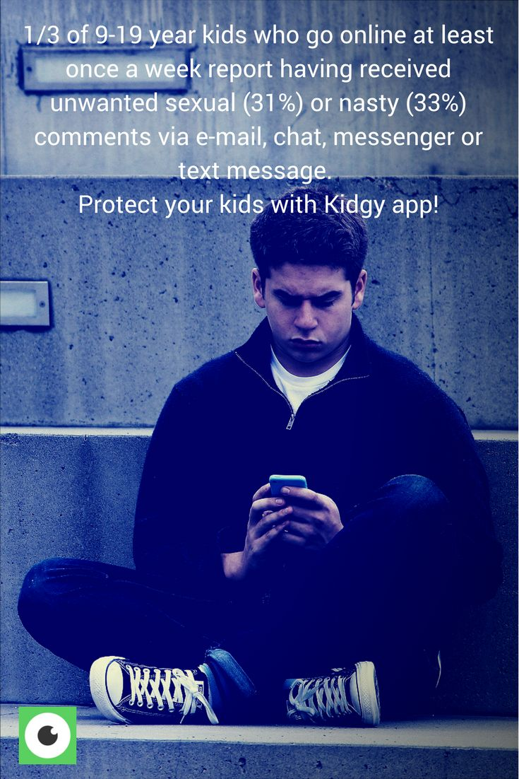 1/3 of 9-19 year kids who go online at least once a week report having received unwanted sexual (31%) or nasty (33%) comments via e-mail, chat, messenger or text message. Only 7% of parents/carers think their child have received such comments. Protect your kids with Kidgy app!