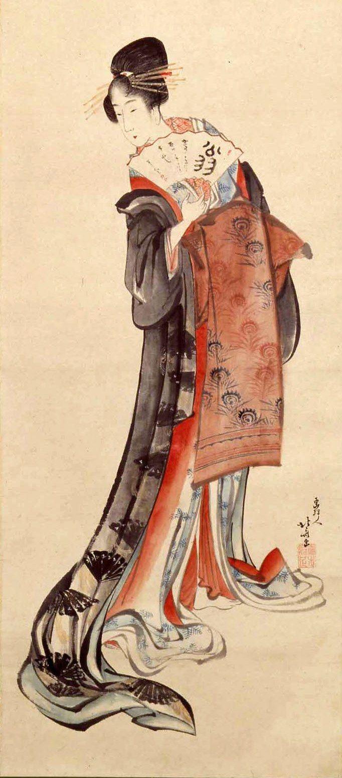 Katsushika Hokusai - Women in form of Sanbasō Dance2 ... Hokusai Woman
