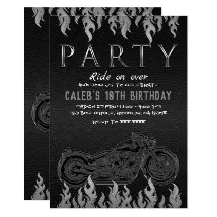 Black Leather Silver Chrome Motorcycle Biker Party Card - invitations custom unique diy personalize occasions