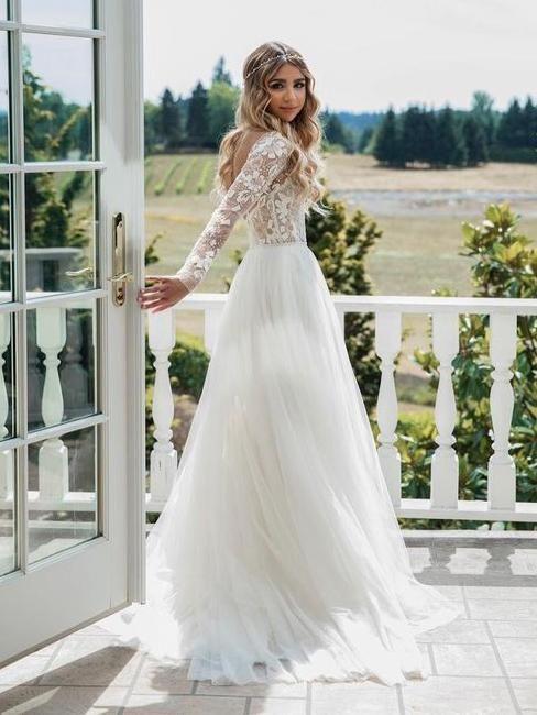 Langarm Elfenbein Tüll durchsichtig Brautkleider rückenfrei Land Hochzeit