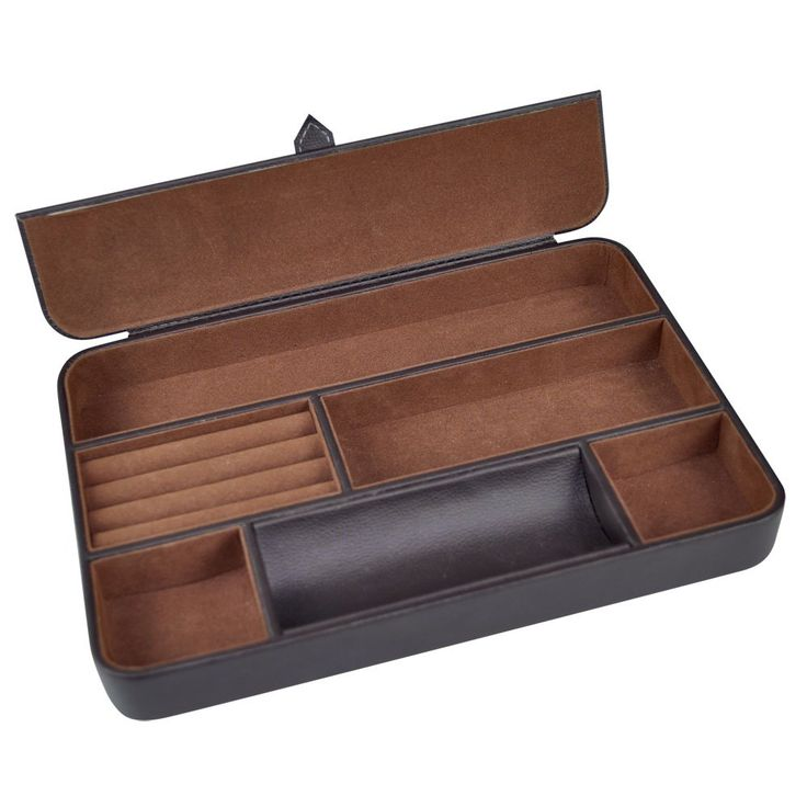 Max 12 Inch Valet Tray 6 Compartment Leatherette Organizer Box For Jewelry Dresserdresser Toporganizershome