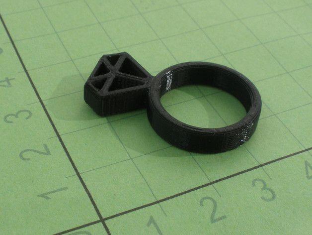 Ring - Diamond by makerslabcz - Thingiverse
