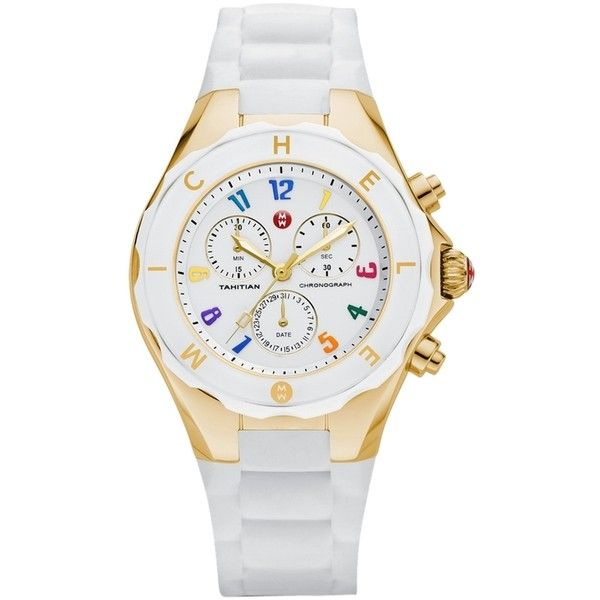 Pre-owned Brand New Jelly Bean White/  Gold Watch ($255) ❤ liked on Polyvore featuring jewelry, watches, accessories, michele jewelry and michele watches