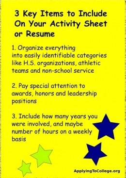 3 Items To Include On Your College Resume Or Activity Sheet. #college