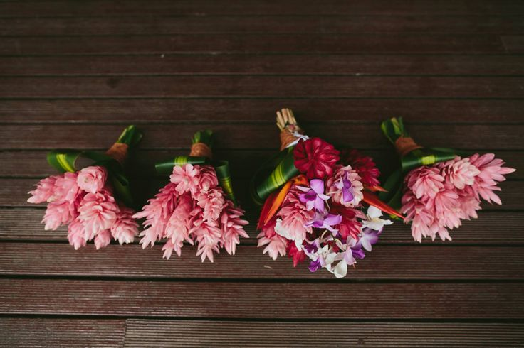Outrigger Fiji Beach Resort Wedding Ideas Planning Inspiration Tropical Paradise Style Floral Design Planning Photography Arrangement Stunning Flowers Bouquet Pink Group Wood Table Setting