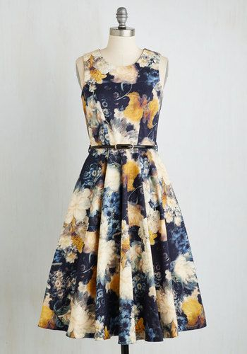 Light and Visionary Dress. The brilliance of your personality shines all the brighter as you reveal the details of your latest project in this belted midi by Closet! #multi #modcloth