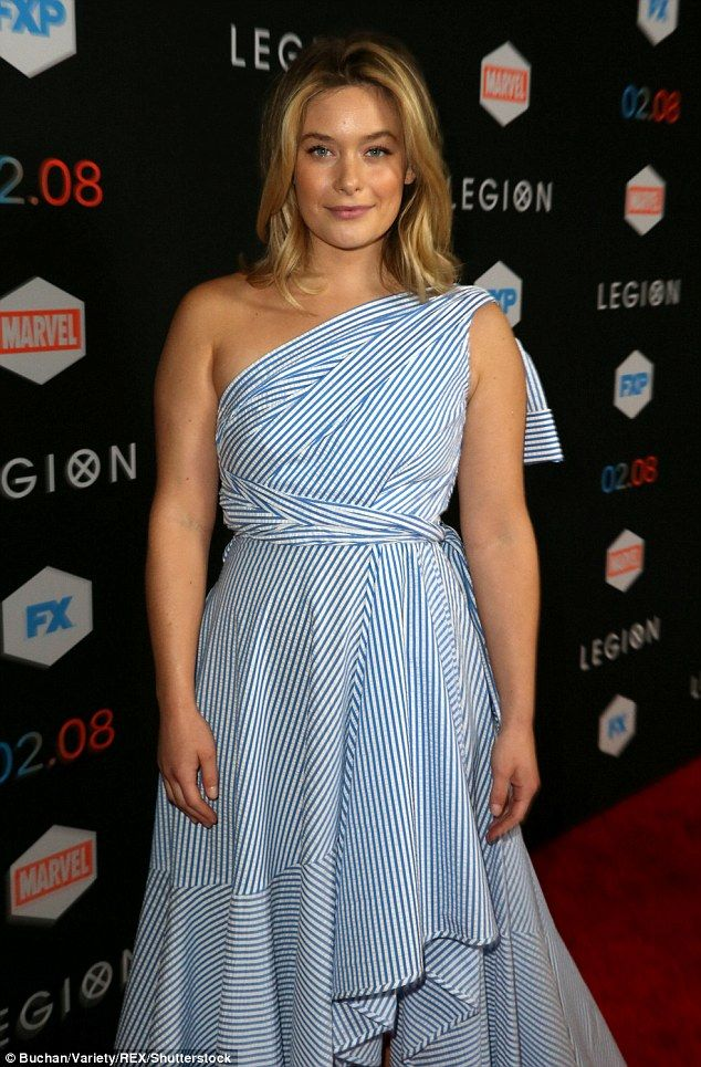 Toga party! Rachel Keller donned a toga-inspired wrap dress with blue stripes for the evening