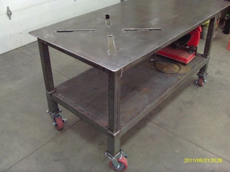 Welding Table By 62 Wood    Homemade Welding Table Constructed From Surplus  Tubing, Diamond · Welding TableShop OrganizationMetal ...