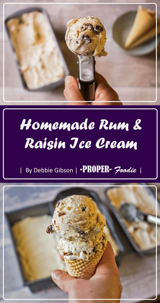 Homemade rum and raisin ice cream