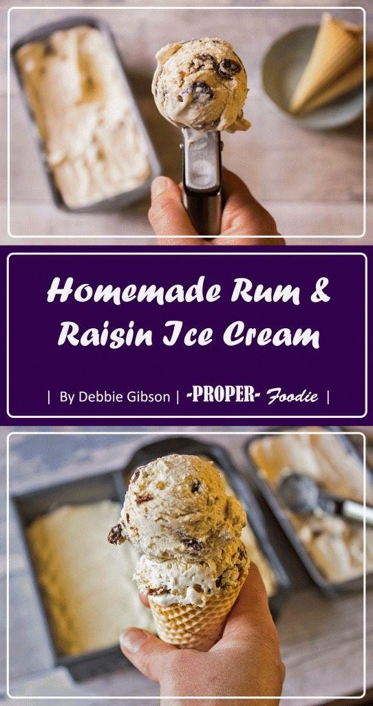 Homemade rum and raisin ice cream