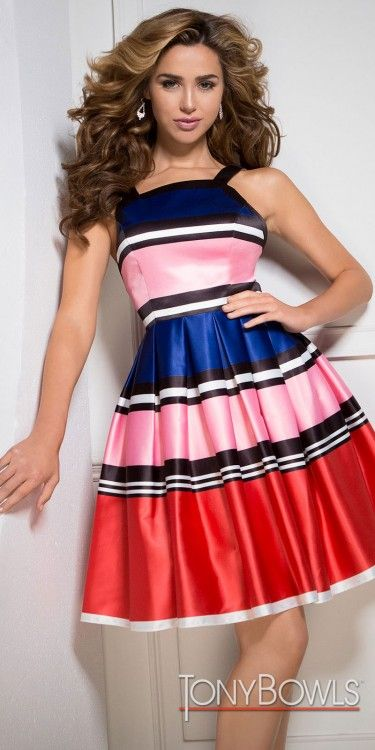 Get the party started in this stand out Multi Color Box Pleated Striped Cocktail Dress by Tony Bowls that features a V-shape open back and a classic fit and flare silhouette. #edressme
