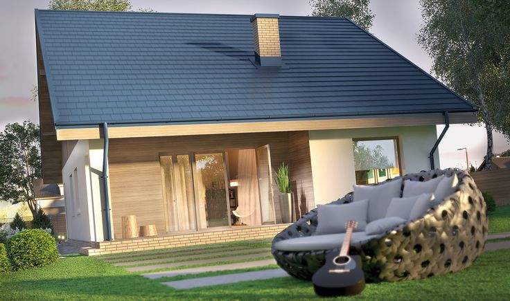 """""""Miarodajny - wariant I"""" Murator C333a - sympatyczny, tani w budowie dom dla młodej, rozwojowej rodziny. Parter ma powierzchnię 83,2 mkw., ale w każdej chwili jest możliwość dowolnego zaadaptowania poddasza o powierzchni 74,2 mkw. Krótszy bok ma tylko 10,5 m, dlatego projekt nadaje się nawet na wąską działkę."""
