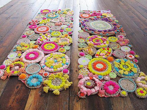 rug, yarn, jute, rope, tapestry, hula-hoop, neon, pink, yellow, circles, boho