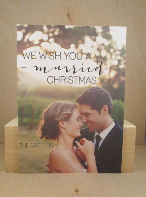 Merry Christmas Photo Card / Married Christmas / Holiday Photocard / Newlyweds / Wedding Photo / First Christmas / Digital Print Darby Cards...