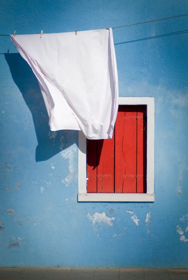 Red, White, Blue of Burano, Venice I love to see laundry hanging in Venice!