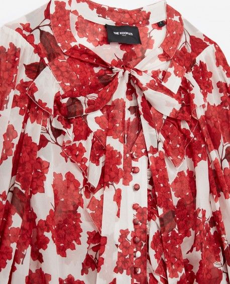 560fe691cb9 Red silk shirt with Hydrangea print - WOMAN Red Hydrangea, The Kooples, Red  Silk