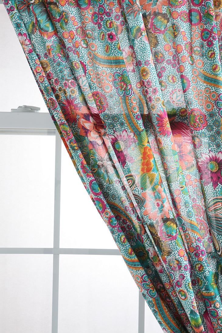 Bright, colorful floral curtains | Curtains | Pinterest