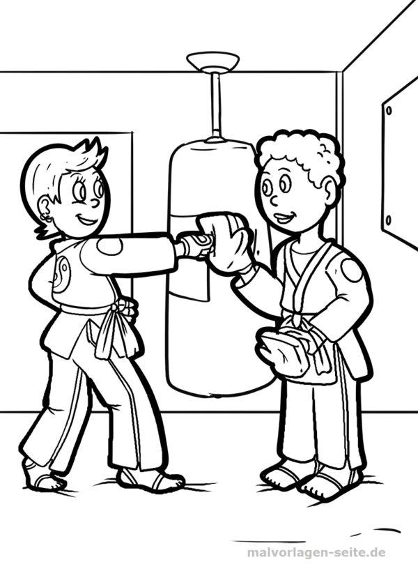 malvorlage karate  sport  kostenlose ausmalbilder