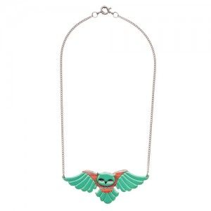 Octavia Owl (Emerald Resin  Necklace)
