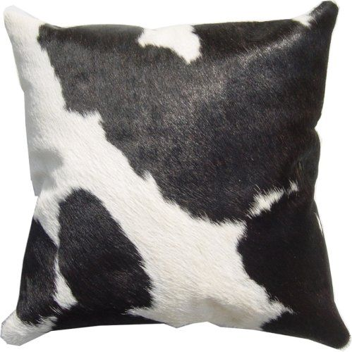 ($74.99) Black/white LEATHER COWHIDE PILLOW cover CUSHION 16x16 From  Naturemadehides