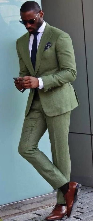 0ac6af53f823 @davidson_frere - suit combo inspiration with a green line suit white  windowpane shirt navy tie
