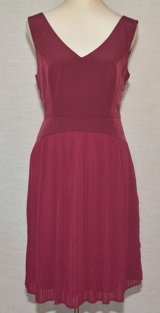 ModCloth Drop Waist Pleated A-Line Dress M Wine V-Neck Sleeveless Knee  Length  LaceMesh  ALineDress  WorkCasual 3f05c7454