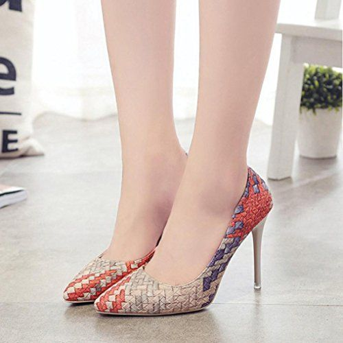 1a9d51ae76c22 DENER Womens Ladies Girls High Heels Shoes,Mixed Colors Shallow ...
