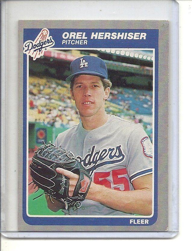 B 2 1985 Fleer 371 Orel Hershiser Rookie Orel Hershiser Baseball Trading Cards Baseball Cards