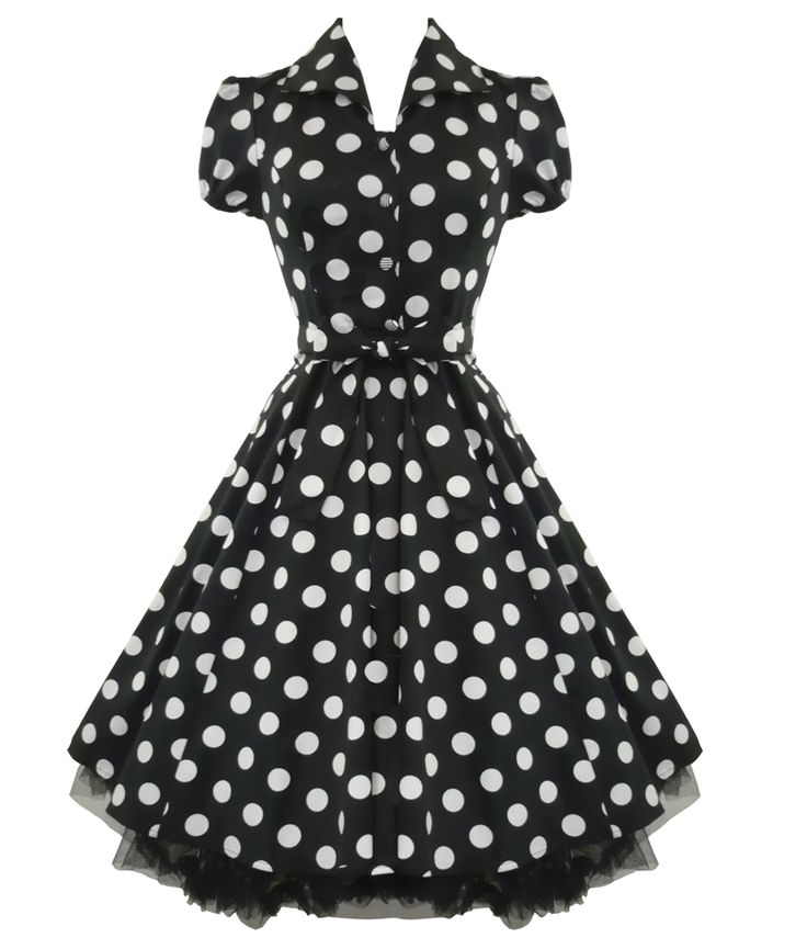 """Pretty, stretch cotton, 50's tea dress with elasticated cap sleeves and collar detail. Stripe button fastenings and invisible zip to side. Cotton underskirt finished with black netting. Matching fabric belt.  Can be worn with a Hell Bunny 25"""" length petticoat to make the dress fuller (as per main picture). Petticoat is not included with the dress but available to purchase separately in our shop.  Machine washable  Material : 97% Cotton, 3% Elastane   Length : Knee length"""
